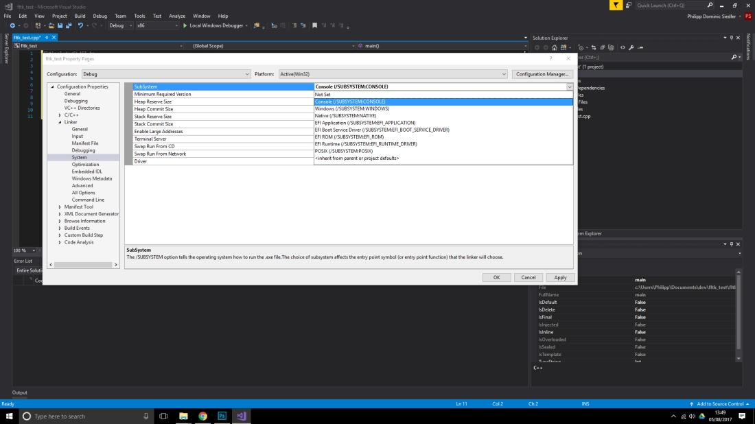 How to install and use fltk-1 3 4 in Visual Studio 2017 2 0