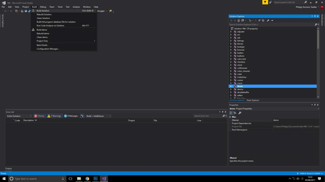 How to install and use fltk-1 3 4 in Visual Studio 2017
